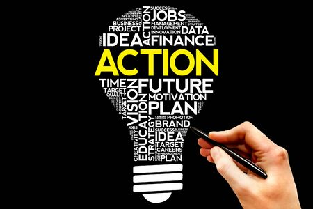 estimating: ACTION bulb word cloud, business concept Stock Photo