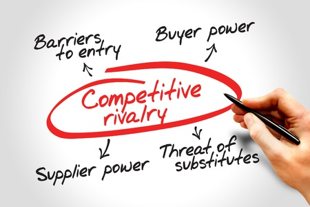 rivalry: Competitive rivalry porter five forces business concept Stock Photo