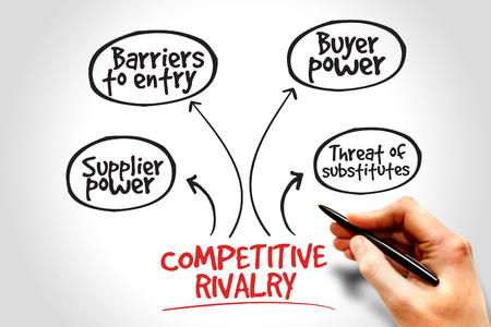 competitive: Competitive rivalry porter five forces business concept Stock Photo