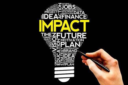 bulb light: IMPACT bulb word cloud, business concept Stock Photo