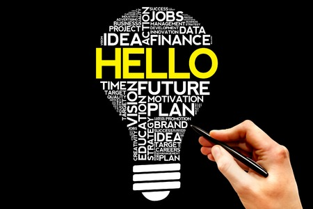 introduction: HELLO bulb word cloud, business concept