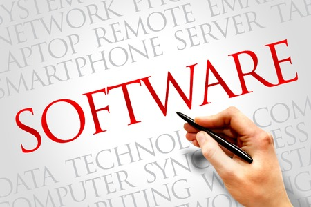 Software word cloud concept Stock Photo