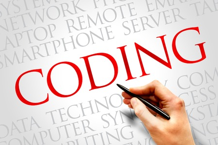 executable: Coding word cloud concept Stock Photo