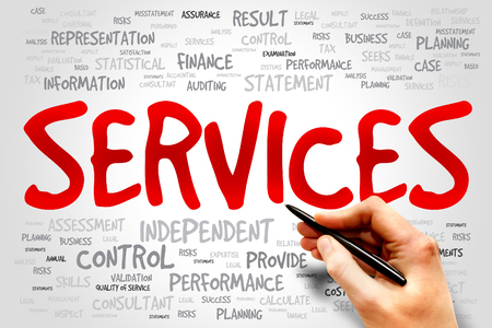 maintainability: SERVICES word cloud, business concept Stock Photo