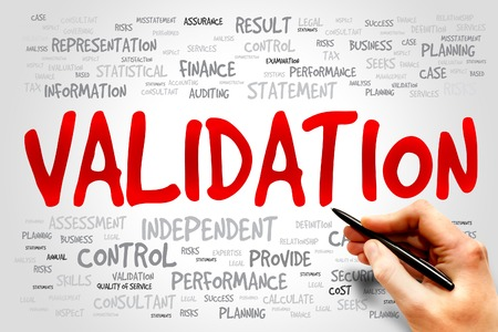 validation: VALIDATION word cloud, business concept Stock Photo