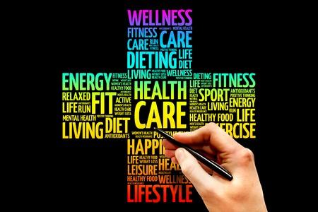 healthcare and medicine: Health care word cloud, health cross concept