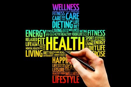 salud: Salud nube de palabras, el concepto de salud cruz