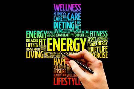 salud y deporte: ENERGÍA nube de palabras, el concepto de salud cruz