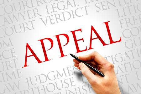orden judicial: Apelación concepto de nube de palabras Foto de archivo