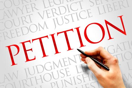 court process: Petition word cloud concept Stock Photo