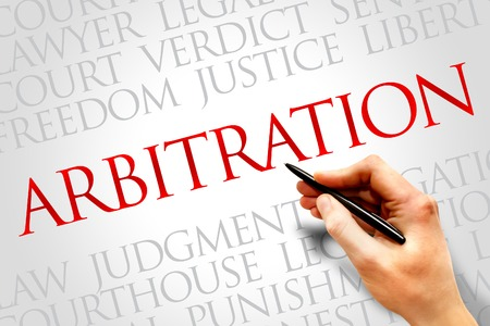 arbitration: Arbitration word cloud concept Stock Photo