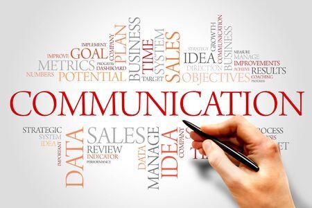 Nube de palabras de comunicación, concepto de negocio