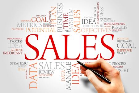 Sales word cloud, business concept Stock Photo