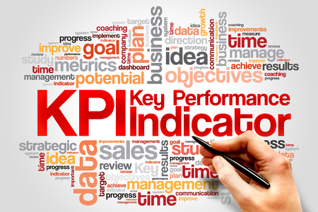 KPI - Key Performance Indicator word cloud, business concept Stock Photo