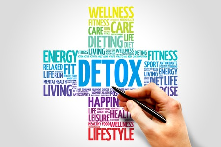regenerate: DETOX word cloud, health cross concept Stock Photo