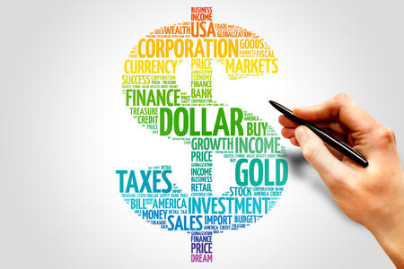 word: Dollar word cloud sign, business concept