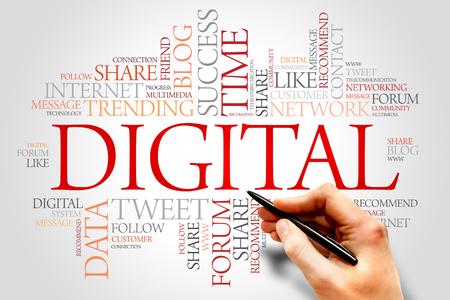 decoding: Digital word cloud, business concept Stock Photo
