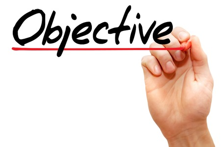 Hand writing Objective with marker, business concept 스톡 콘텐츠