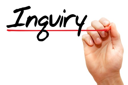 inquiry: Hand writing Inquiry with marker, business concept Stock Photo
