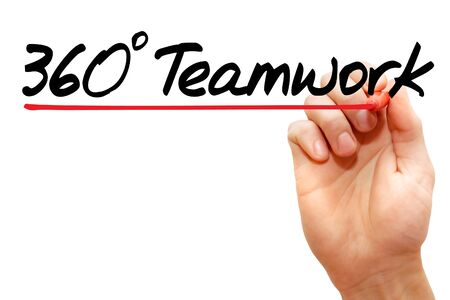 teamwork concept: Hand writing 360 degrees Teamwork with marker, business concept