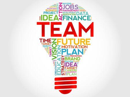 business team: TEAM bulb word cloud, business concept