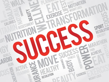 health concept: SUCCESS word cloud, fitness, sport, health concept