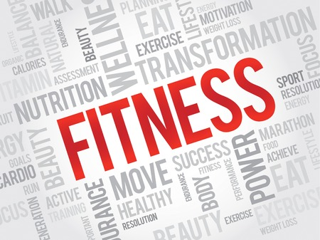 FITNESS word cloud, sport, health concept Illustration