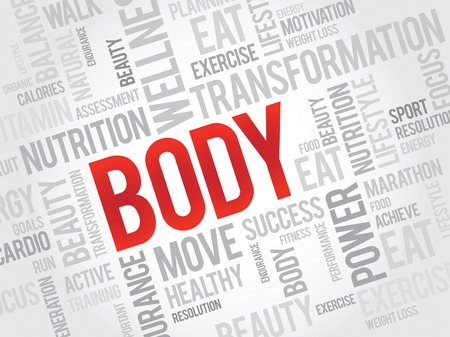health concept: BODY word cloud, fitness, sport, health concept