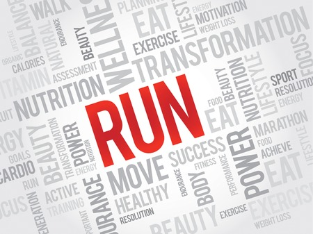 destress: RUN word cloud, fitness, sport, health concept Illustration