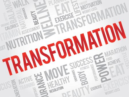 health concept: TRANSFORMACI�N nube de palabras, fitness, deporte, concepto de salud