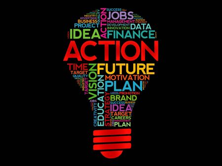 estimating: ACTION bulb word cloud, business concept Illustration