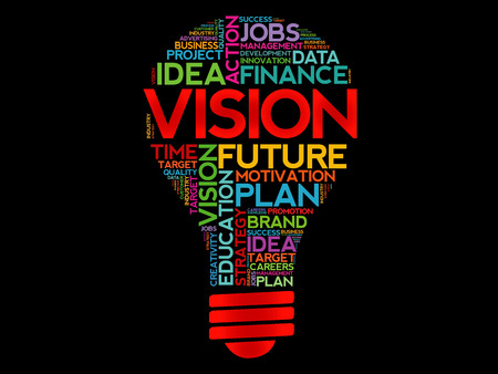 vision concept: VISION bulb word cloud, business concept