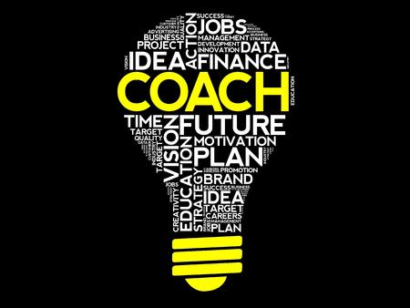 コーチの電球の単語の雲、ビジネス コンセプト