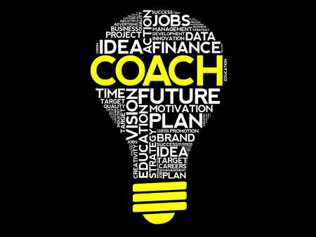 career development: COACH bulb word cloud, business concept