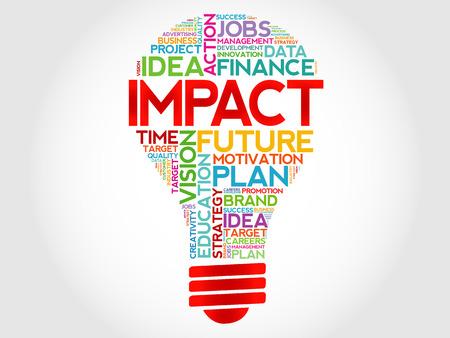 IMPACT bulb word cloud, business concept Illustration