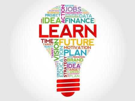 light classroom: LEARN bulb word cloud, business concept Illustration