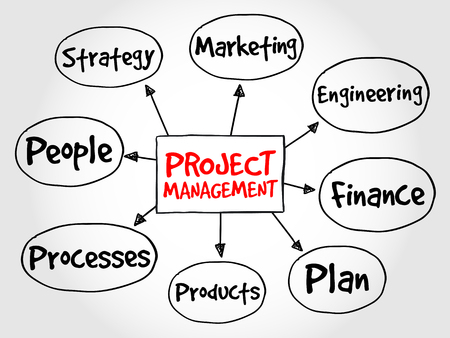 project management: Project management mind map, business concept