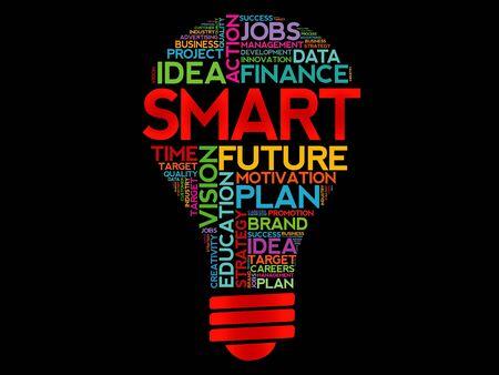 achievable: SMART bulb word cloud, business concept