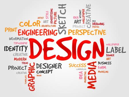 DESIGN word cloud, creative business concept Vector Illustration