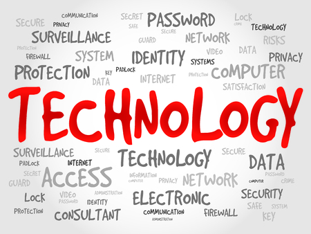 security system: TECHNOLOGY word cloud, business concept Illustration