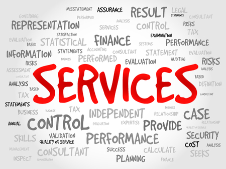 business services: SERVICES word cloud, business concept Illustration