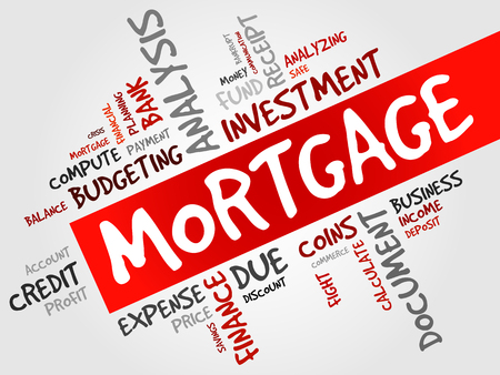 hypothec: MORTGAGE word cloud, business concept Illustration