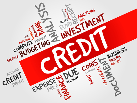 lenders: CREDIT word cloud, business concept