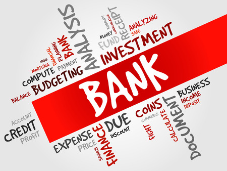 value system: BANK word cloud, business concept