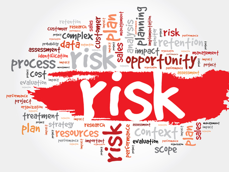 probability: Word Cloud with RISK related tags, business concept