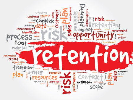 retention: Word Cloud with Retention related tags, business concept Illustration