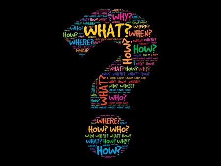 signo pregunta: Signo de interrogación, concepto Pregunta palabras vectorial