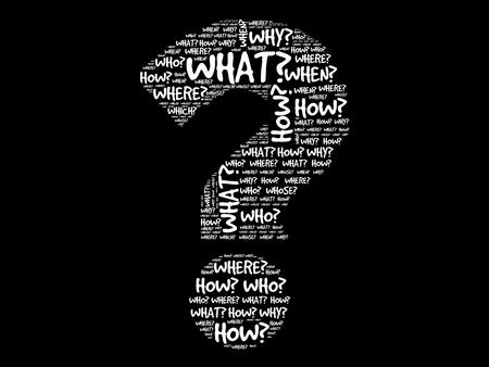 Fragezeichen, Fragewörter Vektor-Konzept
