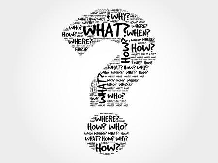 questionable: Question mark, Question words cloud concept background