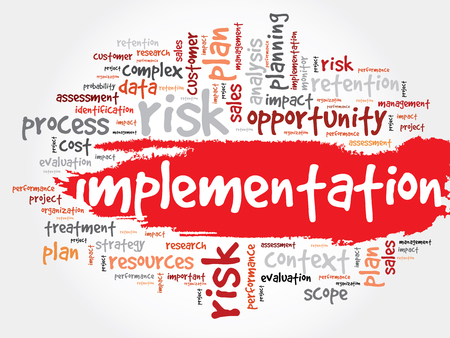 Implementation word cloud, business concept Stock Illustratie
